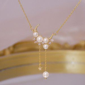 NEW 14K Gold Plated Diamond Pearl Moon Necklace